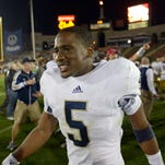 Notre Dame Fighting Irish quarterback Everett Golson (5) reacts during the second half of the 2013 BCS Championship game.