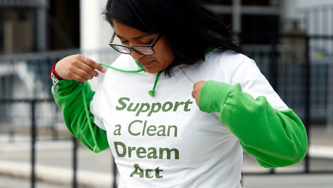 Activist and DACA recipient Cinthia Osorio of Dover shows her Dream Act shirt during the New Jersey Statewide Day of Action at Rutgers University New Brunswick, Brower Commons as New Jersey activists held a series of six rallies over seven hours in six municipalities across the state Monday. Dreamers and their supporters rally to demand a clean DREAM Act that does not criminalize communities and separate families. March 5, 2018. New Brunswick, NJ.