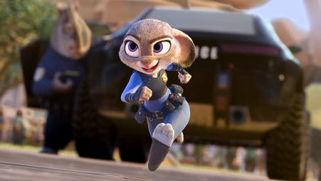 "This image released by Disney shows Judy Hopps, voiced by Ginnifer Goodwin, in a scene from the animated film, ""Zootopia.""  The film will be screened at 8 p.m. June 16 at University United Methodist Church for free movie night. Proceeds from concession sales will go to Faith Mission."
