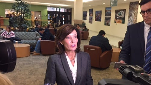 Lieutenant Governor Kathy Hochul speaks to reporters at  a meeting of the Southern Tier Regional Economic Development Council held Tuesday in the student union of Binghamton University.