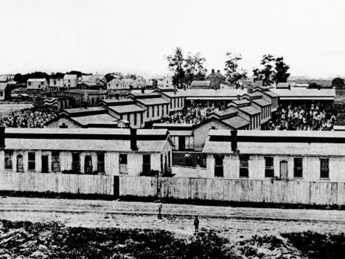 The Hospital Army barracks on 12th Street where Fisk University opened on January 9th, 1866.