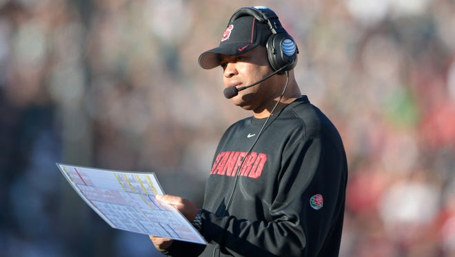 Stanford coach David Shaw, shown here at the 100th Rose Bowl, is bullish on the Cardinal roster, particularly along the lines.