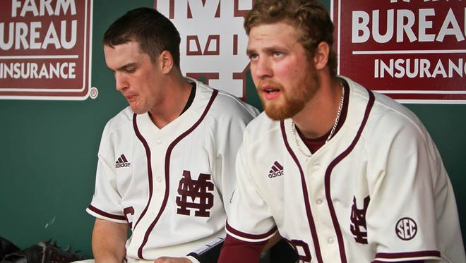 Mississippi State pitcher Vance Tatum (right) took the loss as Texas A&M won the series on Sunday.