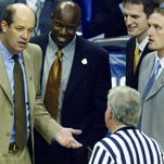 HIGH Vanderbilt 71, Western Michigan 58 on March 19, 2004:In his fourth season, Kevin Stallings guided Vanderbilt to its first NCAA Tournament victory in 11 years.: In this photo, Stallings, left, and his staff question a referee during a timeout during the win.