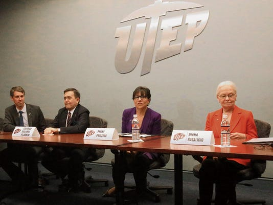 Rudy Gutierrez—El Paso Times UTEP president Diana Nataliciio, right, attends a press conference with U.S. Secretary of Commerce Penny Pritzker, center, Mexico Secretary of Economy Ildefonso Guajardo Villarreal, and U.S. Rep. Beto O'Rourke, far left, during the second day of the 2015 United States-Mexico Summit Friday at UTEP.