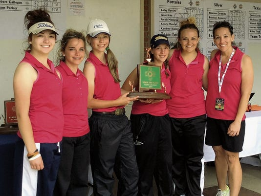 The Lady Warriors golf team earned third place in the Class 4A State Golf Championship on May 11 and 12. From left, Kaylor Grado, Sydnee Wood, Alexandra Michelena, Lexi Lucero, Tuuri Testerman and Ruidoso girls golf coach Melissa Misquez.