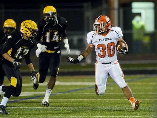 Central York's Elzir Stroman carries the ball against Red Lion in the first half of Friday's game. It was tough sledding for Central York on the ground — 21 carries for 58 yards — in the team's 42-7 loss to Red Lion.