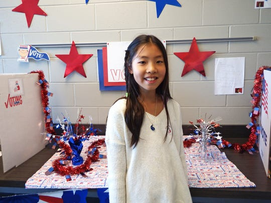 Fourth-grader Hahyeon Kim, 10, cast her vote for president
