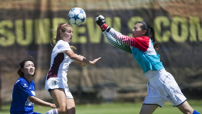 Jessica Raybe, shown against Beijing Normal, is among those providing depth at forward for No. 22 ASU soccer.