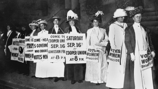 Demonstrators rally for women's suffrage in New York in September 1916. This week marks the centennial of Aug. 18, 1920, the day women were given the right to vote.