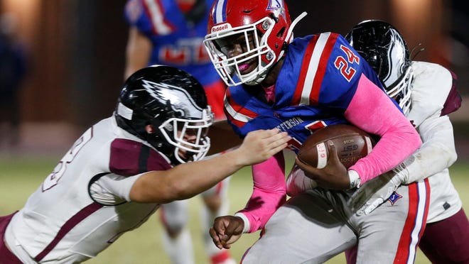 Jefferson's Malaki Starks (24) moves the ball down the field during an GHSA high school football between Jefferson and Chestatee in Jefferson, Ga., on Thursday, Nov. 5, 2020.