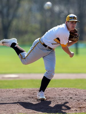 Watchung Hills vs Bridgewater-Raritan boys varsity baseball at Bridgewater on Friday April 15, 2016 Watchung Hills pitcher # 7 Tyler Lombardo on the mound.