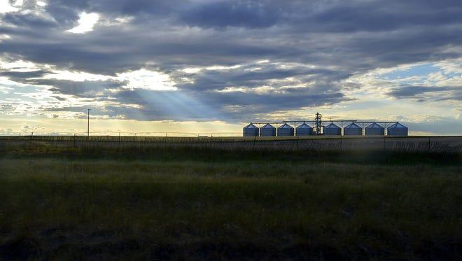 Grain silos in Power seen on July 15, 2015.