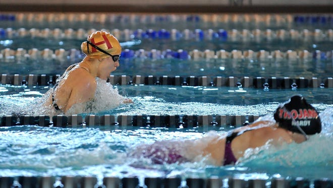 Hillsborough's Megan Bull (left) and Bishop Ahr's Sarah Hardy (right) swim the 200 IM at the NJSIAA swimming Meet of Champions, Sunday, Feb. 29 at Gloucester County Institute of Technology in Sewell.