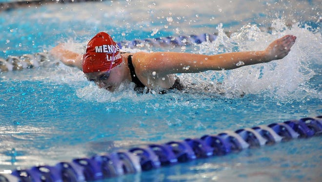 Mendham's Mary Laurita swims the 100 butterfly at the NJSIAA swimming Meet of Champions, Sunday, Feb. 28, 2016, at Gloucester County Institute of Technology in Sewell.