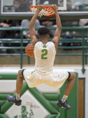 Cathedral High School junior Armaan Franklin (2) slam