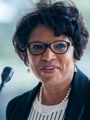Evette Hester, Executive Director of the Montgomery Housing Authority, speaks during the groundbreaking ceremony for Columbus Square in Montgomery, Ala. on Friday September 16, 2016. Columbus Square is located on the site of the former Trenholm Court.