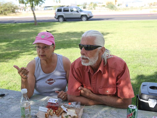 Bob and Helen Brown, who live on the road in their