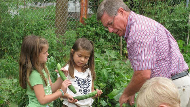 David Collins and his first-grade students at Union Elementary STEM School maintained the garden and greenhouse.