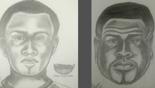 Sketches of two suspects in a robbery at the Gibson County Lake Store.