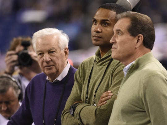 TV personalities Bill Raftery (left) Steve Smith (center) and Jim Nantz (right) of CBS during practice for the 2015 NCAA Men's Division I Championship semi-finals Friday at Lucas Oil Stadium.