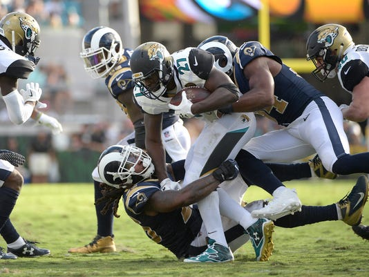 FILE - In this Oct. 15, 2017, file photo, Jacksonville Jaguars running back Leonard Fournette (27) is tackled by Los Angeles Rams linebacker Mark Barron (26) and outside linebacker Robert Quinn (94), right, during the first half of an NFL football game, in Jacksonville, Fla. After Fournette ripped off a 75-yard touchdown run on Jacksonville's first play, he was mostly held in check in the 27-17 loss. (AP Photo/Phelan M. Ebenhack, File)