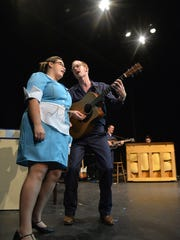 """Rhetta (Amelia Lisi) and Jim (Adam Hammer) sing during a dress rehearsal Sept. 2 for the Pioneer Place on Fifth production of """"Pump Boys and Dinettes."""""""