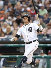 Tigers centerfielder Mikie Mahtook is struck out by