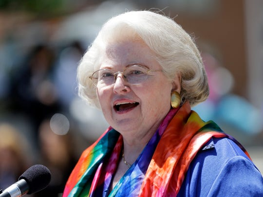 Attorney Sarah Weddington, who argued Roe vs. Wade, during a women's rights rally on Tuesday, June 4, 2013, in Albany, N.Y.