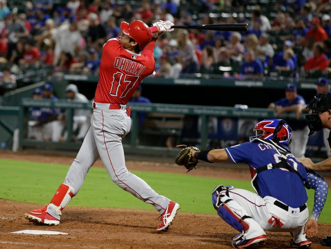 Sept. 5, 2018: Shohei Ohtani hits the first of two