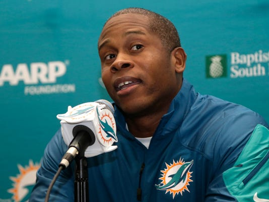 New Miami Dolphins defensive coordinator Vance Joseph responds to a question during a news conference, Thursday, Jan. 28, 2016, in Davie, Fla. Joseph was hired by the Dolphins' new head coach Adam Gase. (AP Photo/Lynne Sladky)