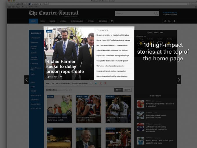 10 high-impact stories at the top of the home page.