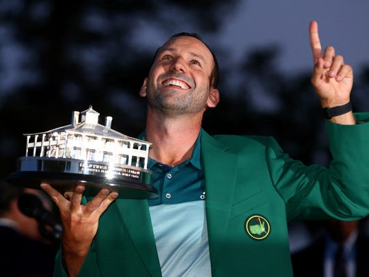 Sergio Garcia celebrates after winning a one-hole playoff