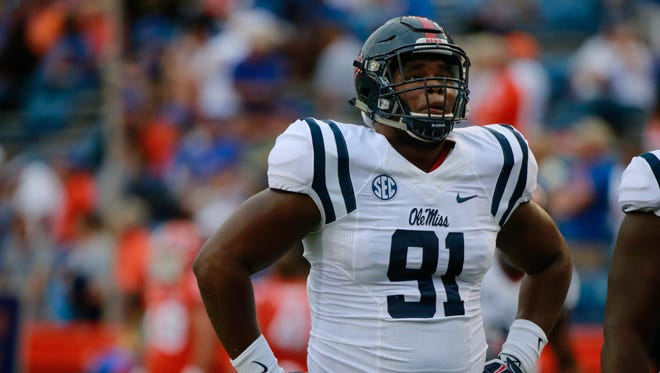 Defensive tackle Ross Donelly (91) warms up before Ole Miss' game against Florida last fall. The sophomore believes his early playing time helped his preparation for the upcoming season.