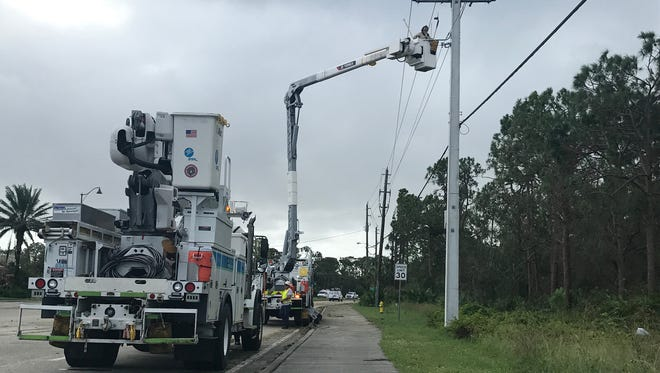 FPL Hurricane Irma restoration in Bonita Springs, Fla., on Monday, Sept. 11, 2017.
