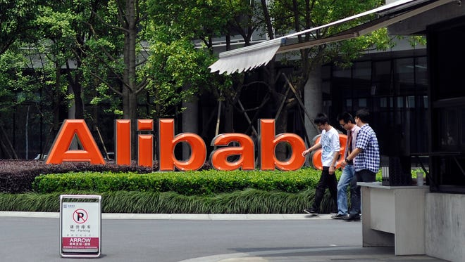 The corporate logo at the headquarters compound of Alibaba Group in Hangzhou in eastern China's Zhejiang province.