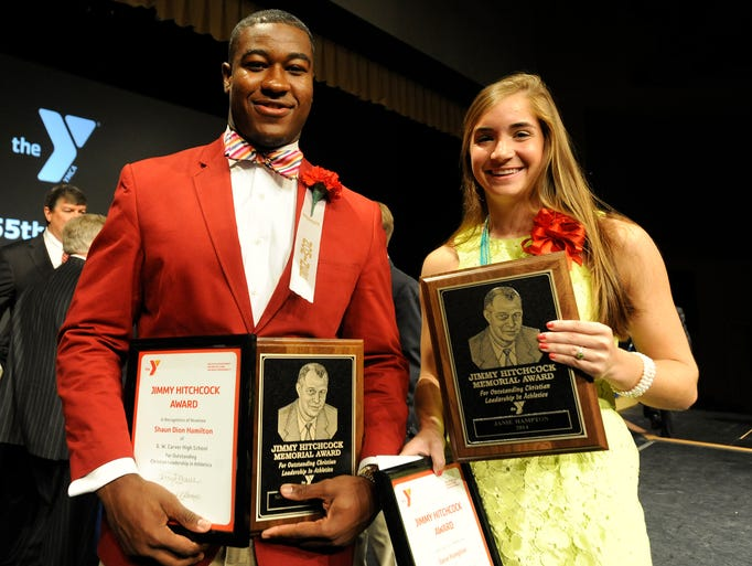 Shaun Dion Hamilton and Janie Hampton are named the winners of the Jimmy Hitchcock Award for Outstanding Christian Leadership in Athletics during the awards banquet at Frazer United Methodist Church in Montgomery, Ala. on Thursday May 1, 2014.
