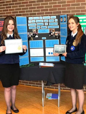 Alice Hughes and Shannon Rossman placed first in their division at the National Science Fair.