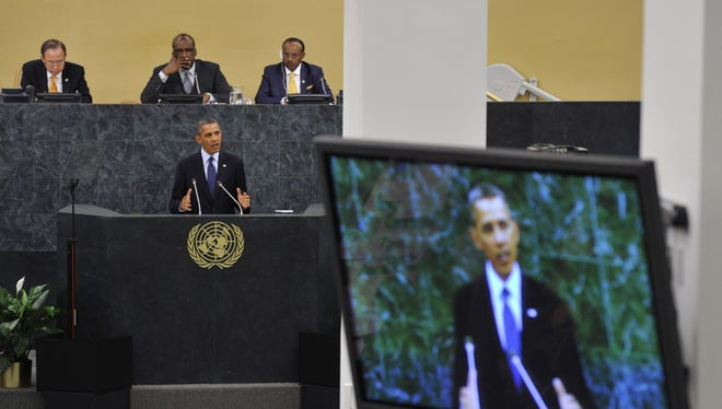 President Obama addresses the United Nations General Assembly on Tuesday in New York City.