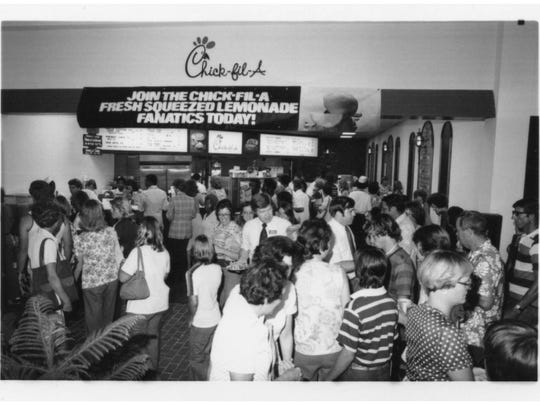 The original opening of the Chick-fil-A location in Eastdale Mall in 1977 was the largest event of its kind for the company at that time.