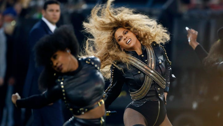 Beyonce performs during halftime of the NFL Super Bowl