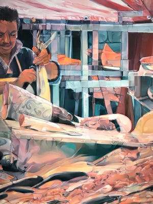 """The SECURA Fine Arts Exhibition Best of Show winner is """"Fish Market in Sicily"""" oil on linen painting by Michelle Richseon."""