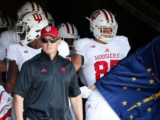 Indiana Hoosiers head coach Tom Allen and players prepare