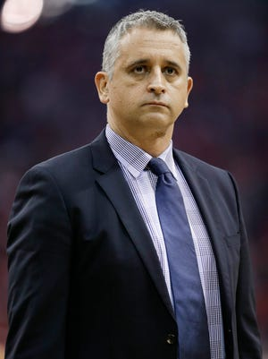 Utah Jazz assistant coach Igor Kokoskov stands during a timeout in the first half of Game 2 in the team's NBA basketball second-round playoff series against the Houston Rockets, Wednesday, May 2, 2018, in Houston. The Phoenix Suns have hired Kokoskov as their new coach.
