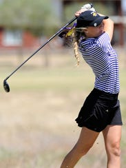 Wylie's Brylee Valentine tees off from No. 14 during the Region I-4A tournament second round at the Shadow Hills Golf Course in Lubbock on April 26. The Lady Bulldogs shot a school-record 309 to qualify for state as region runner-up.