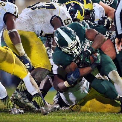 Michigan State running back Jeremy Langford running