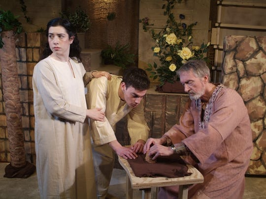 """Albi Gorn's play """"Lot's Wife"""" opened the Westchester Collaborative Theater's new black-box theater with a monthlong run in March. From left: Michelle Daneshvar, Jason Fineberg and Kurt Lauer."""