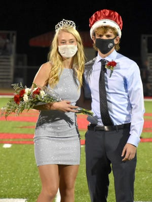 Ottawa High School senior Ty Whitney and Summer Spigle were crowned the 2020 Homecoming King and Queen during halftime of Friday's game against Paola at Steve Grogan Stadium. [PHOTO BY STEPHEN BRADLEY/THE OTTAWA HERALD].