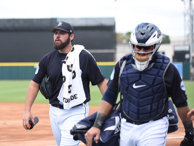 Tigers pitcher Michael Fulmer, left, and catcher Alex