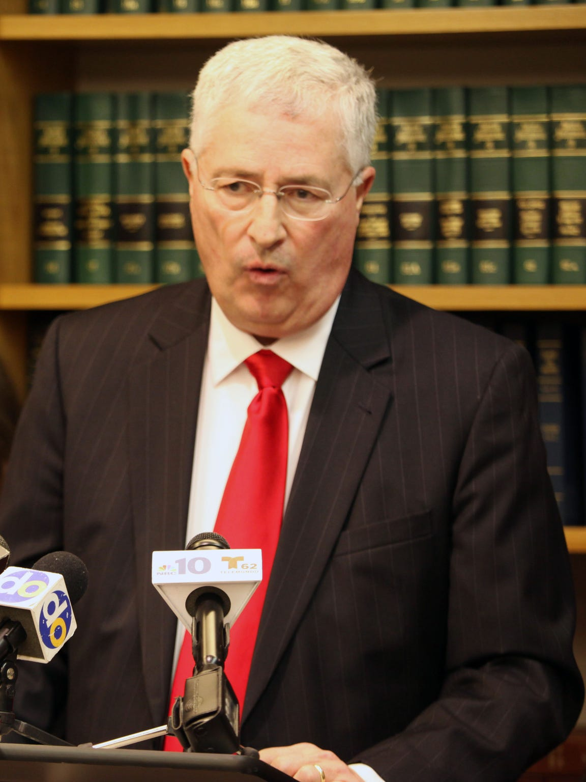 Attorney Thomas Neuberger during a press conference.